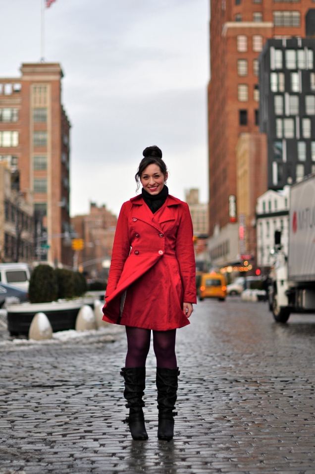 New York Red Coat Fashion